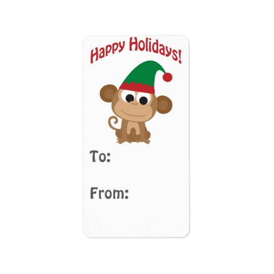 Happy Holidays! Monkey Elf Gift tag