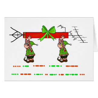 Happy Holidays Morse Code Card with Elves