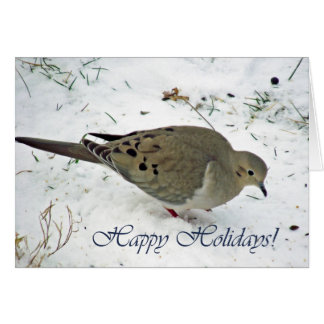 Happy Holidays, Mourning Dove in the Snow Greeting Card