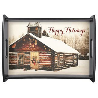 Happy Holidays Old Schoolhouse Serving Tray