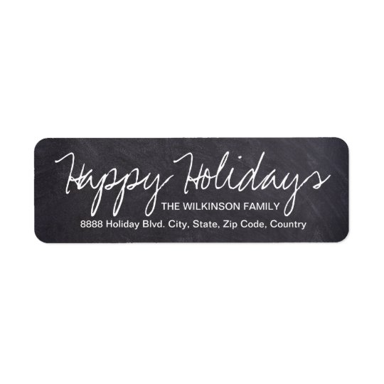 Happy Holidays on Chalkboard, family name