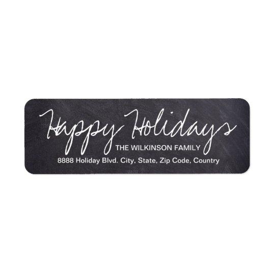 Happy Holidays on Chalkboard, family name Return Address Label