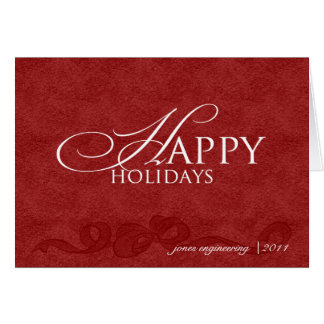 Happy Holidays on Red Leather Business Christmas Card