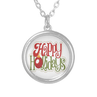 Happy Holidays Ornament Silver Plated Necklace