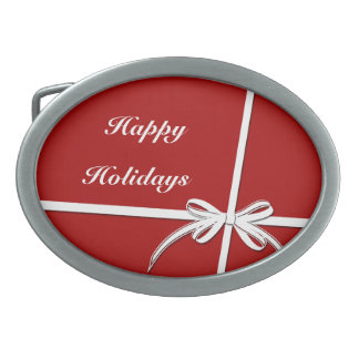 Happy Holidays Oval Belt Buckles