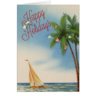 Happy Holidays Palm Tree and Sailboat Card