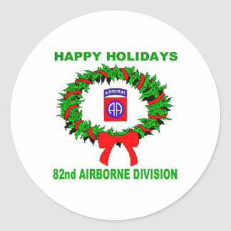 happy holidays, paratrooper,82nd classic round sticker