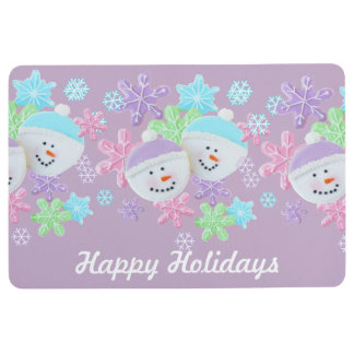 Happy Holidays Pastel Cookies Floor Mat Add your