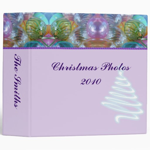 Happy Holidays Pastel Glass Ornaments Binder