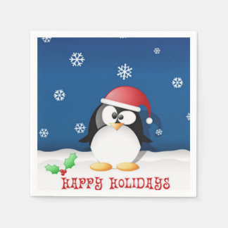 Happy Holidays Penguin Disposable Napkin