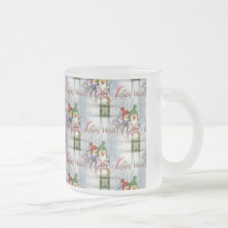 Happy Holidays Penguins Frosted Glass Coffee Mug