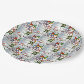 Happy Holidays Penguins Paper Plate