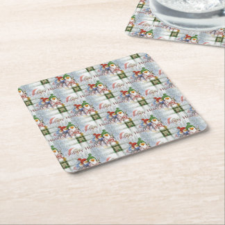 Happy Holidays Penguins Square Paper Coaster