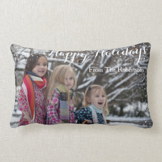 Happy Holidays Personalized Snow Design Lumbar Pillow