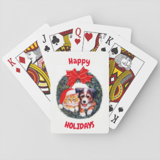 Happy Holidays Pets Playing Cards