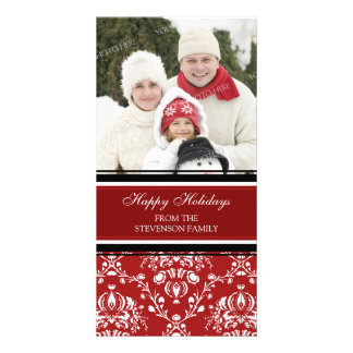 Happy Holidays Photo Card Red Damask