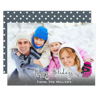 Happy Holidays Photo card Simple Snow Gray