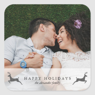 Happy Holidays Photo with Deer Sticker