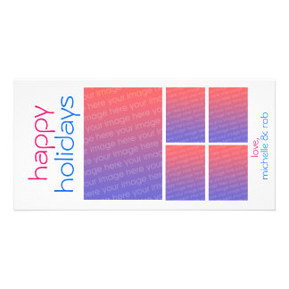 happy holidays (pink & blue) photo cards
