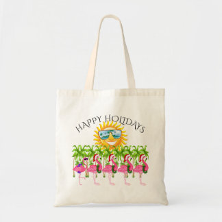 Happy Holidays Pink Flamingo Tote #holidayZ