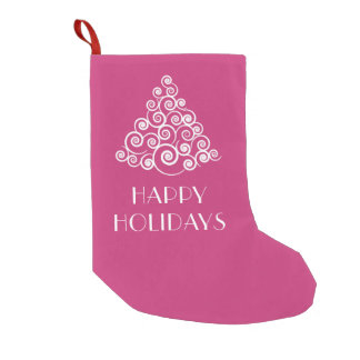 HAPPY HOLIDAYS Pink & White Christmas Tree Small Christmas Stocking