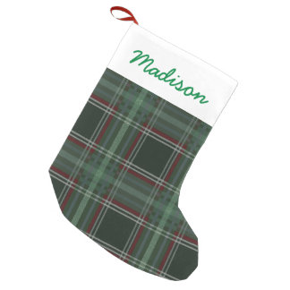 Happy Holidays Plaid Small Christmas Stocking