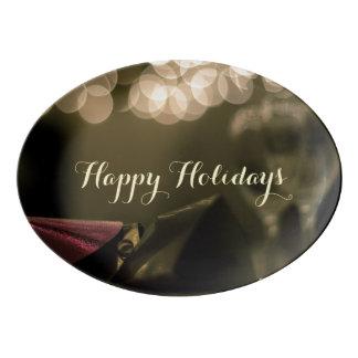 Happy Holidays Platter by RoseWrites Porcelain Serving Platter