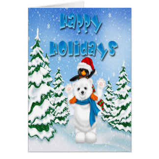 Happy Holidays Polar Bear Penguin Greeting Card