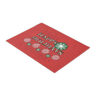 Happy Holidays Polkadot Word Art Doormat