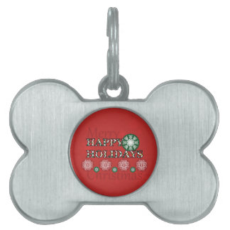 Happy Holidays Polkadot Word Art Pet Tag