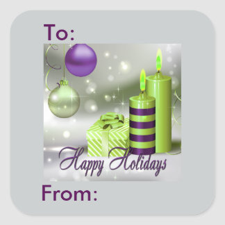 Happy Holidays Purple Green Decorations Gift Tag Square Stickers