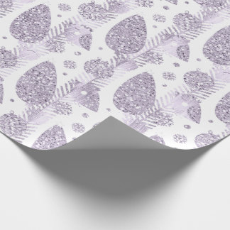 Happy Holidays Purple Lavender Glitter Balls Birds Wrapping Paper