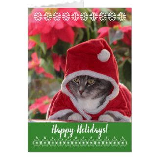 Happy Holidays! purr... from Santa cat. Card