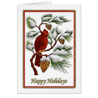 Happy Holidays - Red Cardinal With Pine Cones Card
