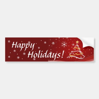 Happy Holidays Red Christmas Tree Sticker Car Bumper Sticker