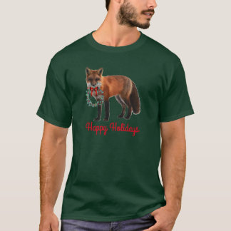 Happy Holidays Red Fox Men's Basic Dark T-Shirt