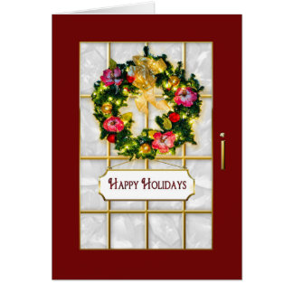 Happy Holidays - Red Glass Greeting Door - Wreath Card