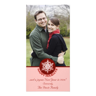 Happy Holidays Red Paper Snowflake 4x8 Card