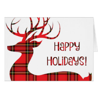 Happy Holidays!  Red Plaid Reindeer Card
