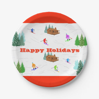 Happy Holidays | Red Ski Cabin Paper Plates