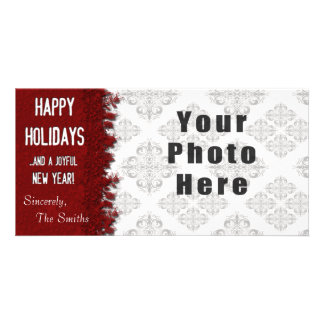 Happy Holidays Red Snowflake Card