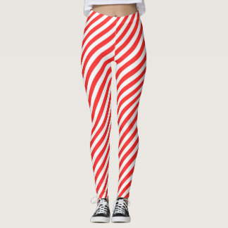 Happy Holidays Red & White Candy Cane Stripes Leggings