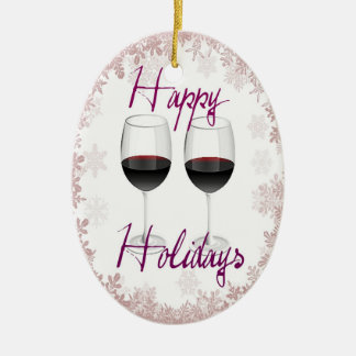"""""""HAPPY HOLIDAYS"""" RED WINE AND SNOWFLAKE PRINT CERAMIC OVAL ORNAMENT"""