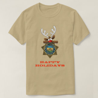 Happy Holidays Reindeer Reno Nevada Police T-Shirt
