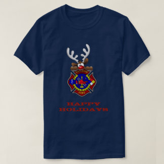 Happy Holidays Reindeer San Jose Fire Department T-Shirt
