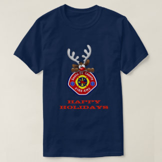 Happy Holidays Reindeer Santa Fe County Fire-EMS T-Shirt