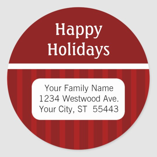 Happy Holidays return address sticker / label