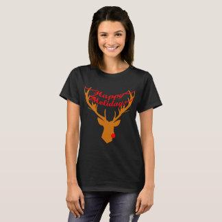 Happy Holidays: Rudolf on Black Tee (W)