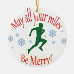Happy Holidays Runners! Round Ceramic Ornament