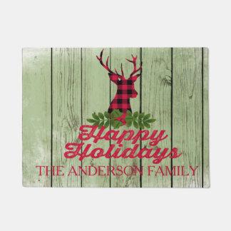 Happy Holidays Rustic Deer Silhouette Door Mat